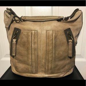 J.Crew Handbag Distressed Beige Leather Hobo Bag
